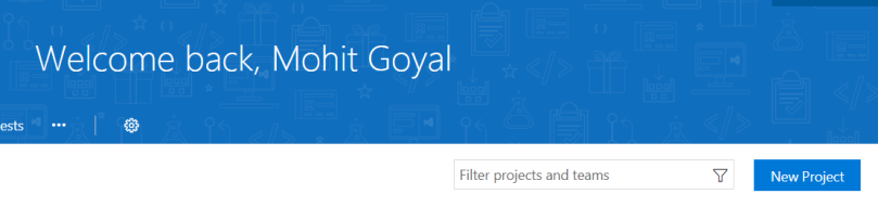 Select new project inside VSTS