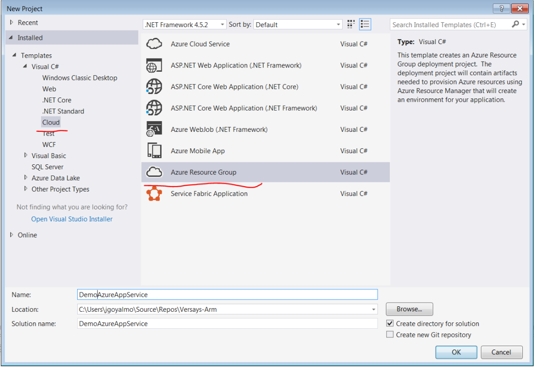 Select project type as Azure Resource Group