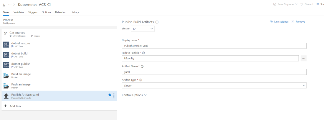 Add Publish Artifacts tasks