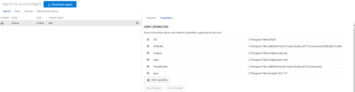 Configure the user capabilities for agent