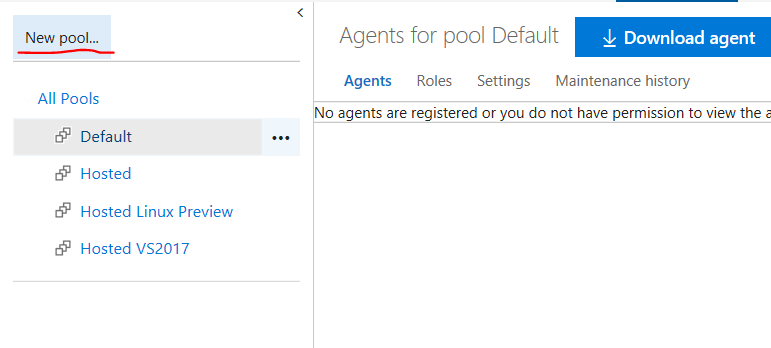 Create new agent pool