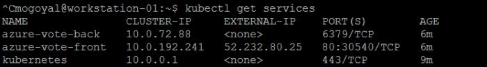 kubectl get services output