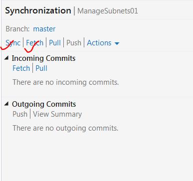 Options inside sync settings
