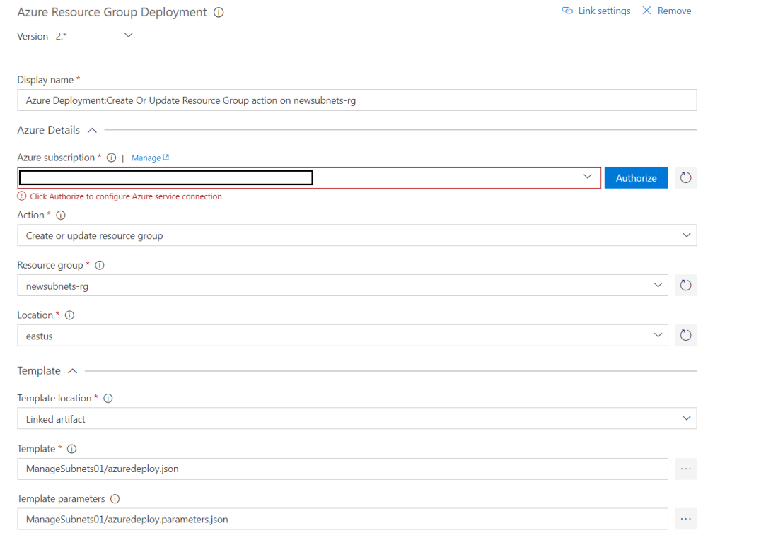 Provide details for the Azure Resource Group task