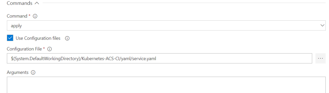 Run kubectl service in release definition