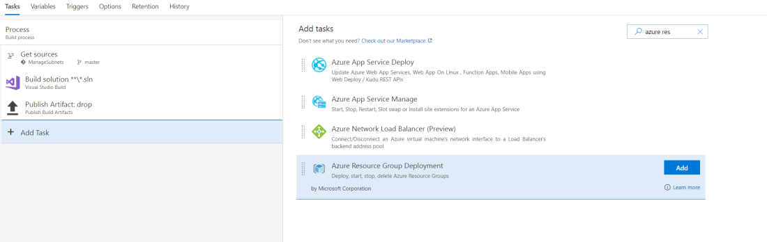 Search and add Azure Resource Group Deployment task