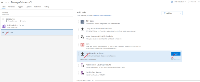 Search and add Publish Build Artifacts task