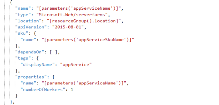 ARM Code for creating app service plan