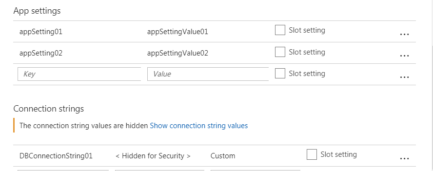 Application settings from azure portal - 2