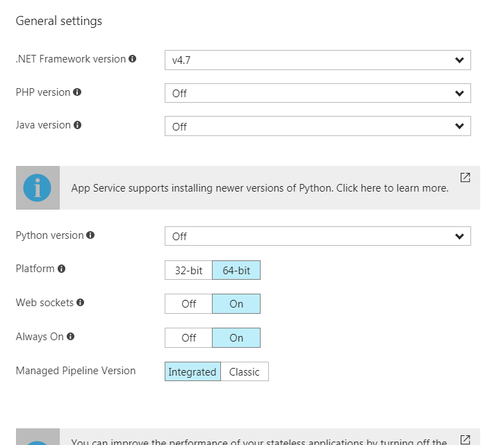 Application settings from azure portal after deployment of arm template