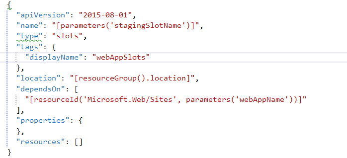 ARM Code for Azure Web App Slot