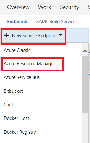 Select azure resource manager from list of endpoints