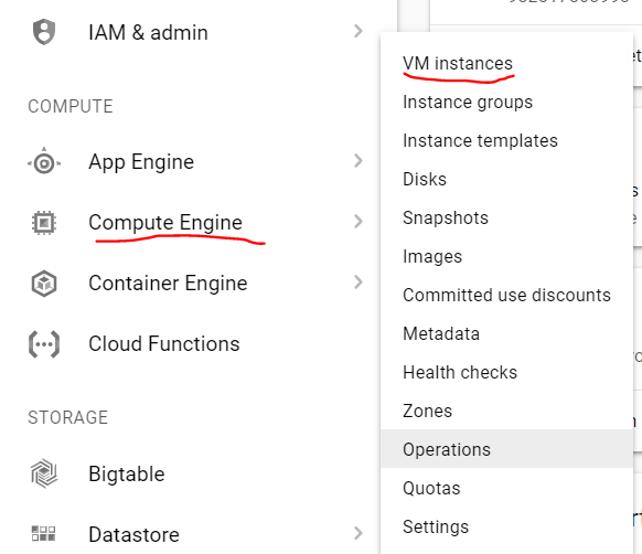 Select compute engine and then select vm instances