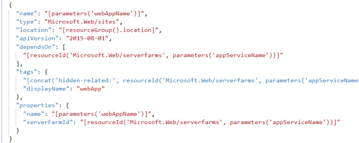 ARM Code for creating web app / app service