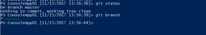 checking git status and branches after commit