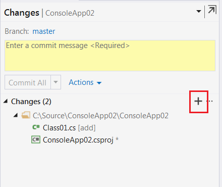 click on the plus icon for staging file changes