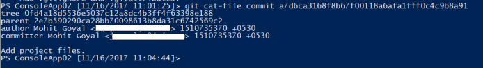 contents of git commit