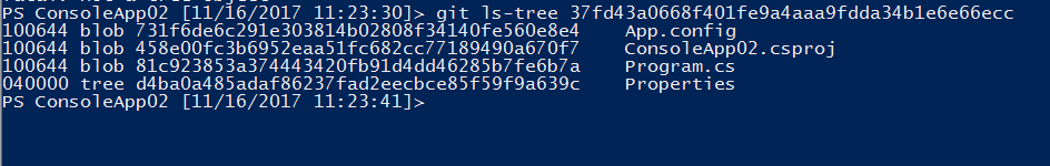 contents of git ls-tree - 2