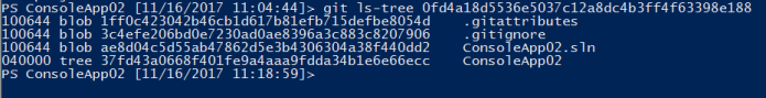 contents of git ls-tree