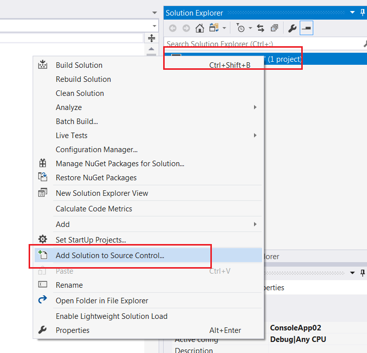 create git repo using visual studio