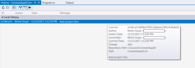 git commit message details within the visual studio