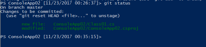 observing git staged changes