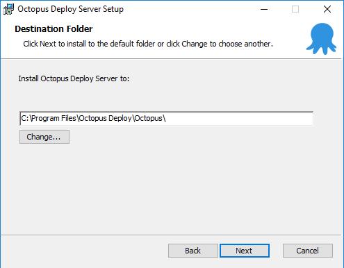 Octopus installation - file location screen
