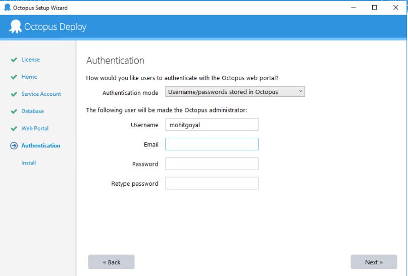 octopus setup - configure admin user