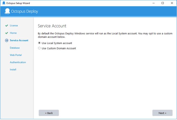 octopus setup - service account screen