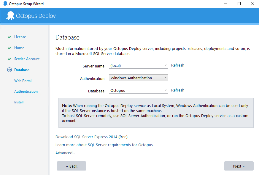 octopus setup - submit database details