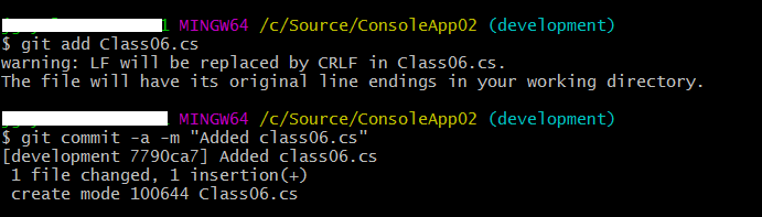add a class file to new branch and commit changes