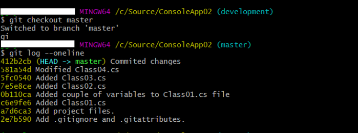 commit history of master branch