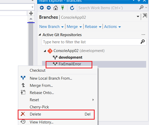 Delete a branch inside Visual Studio