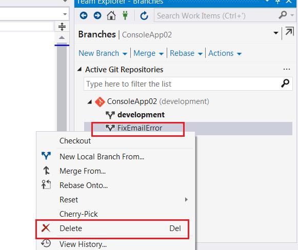 Delete a branch inside Visual Studio