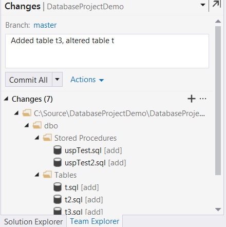 Commit sql changes