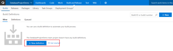 Create a new build definition inside VSTS