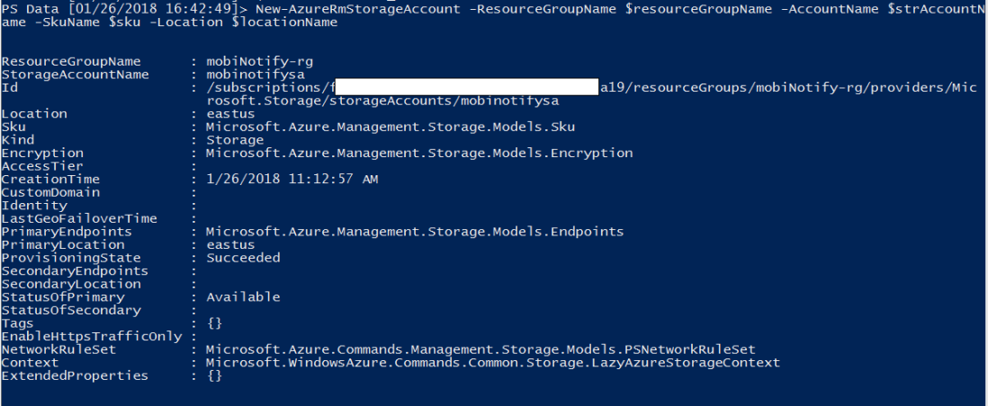 create azure resource account