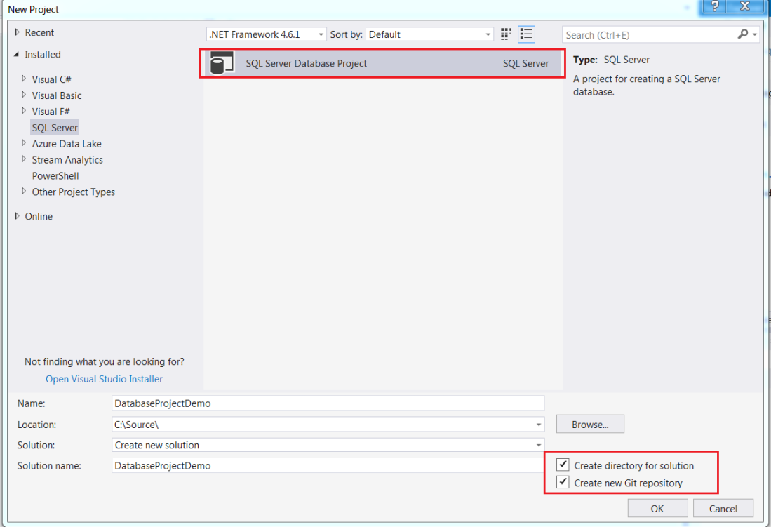 Create new sql server project inside visual studio