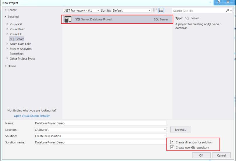 Create new sql server project inside visual studio