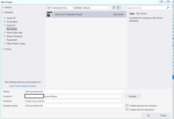 Compare sql database schema and deploy changes using visual studio create sql server database project in visual studio ccuart Gallery