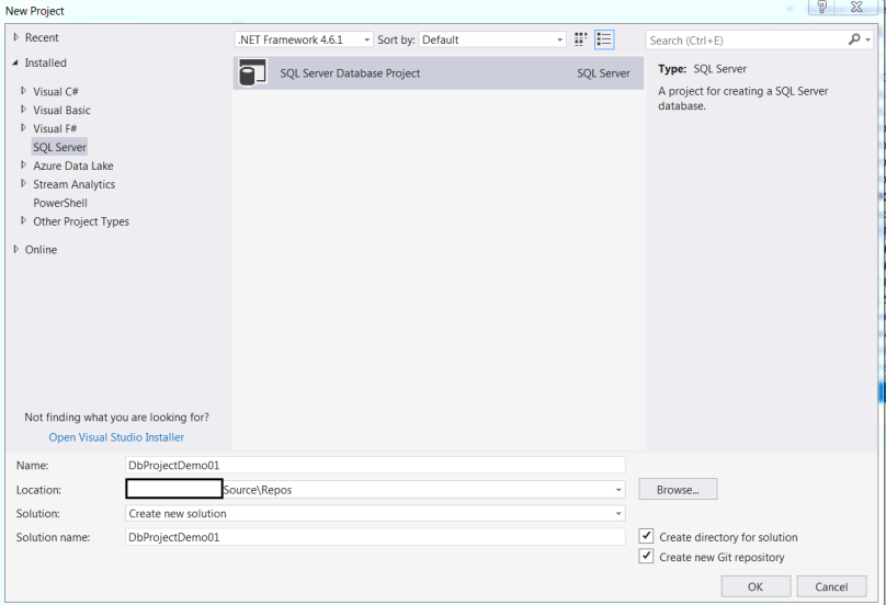 Create Sql Server Database Project in Visual Studio