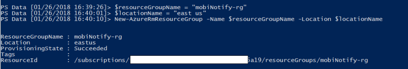 creates an azure resource group