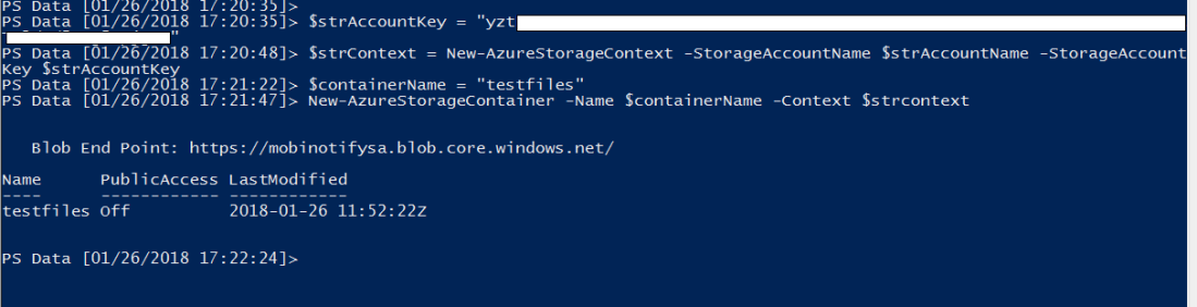creates new azure storage container