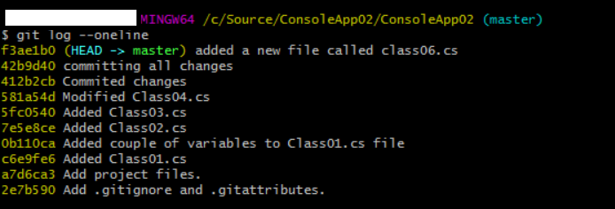 git history for master branch before merge conflict