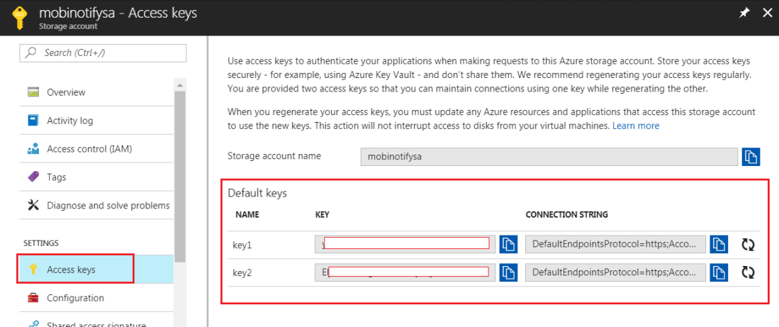 Identify storage account connection details