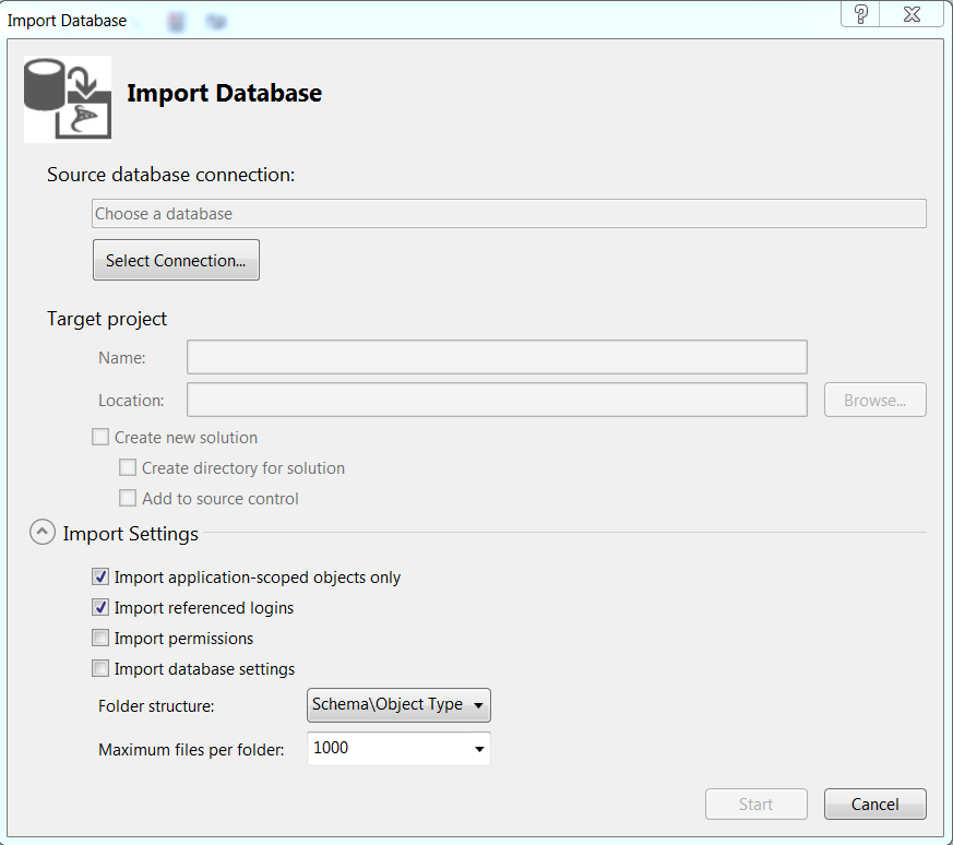 Import database wizard