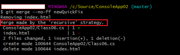 merge commits using recursive strategy