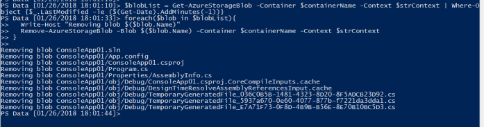 Removed files from azure blob storage