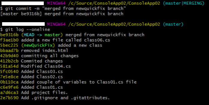 resolve merge conflict and view git history