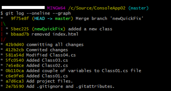 reviewing git log history after recursive merge - 2